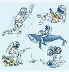 Collection soaring spaceman set astronauts in vector