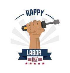 colorful poster of happy labor day with hand vector image