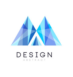 Creative crystal logo template abstract emblem in vector