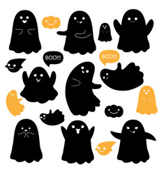 cute ghosts icons on white halloween vector image