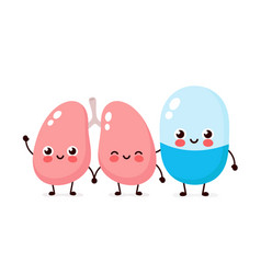 Cute strong happy smiling pill and lungs vector