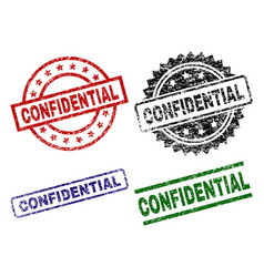 Damaged textured confidential seal stamps vector