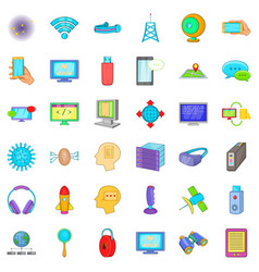 Database and cloud icons set cartoon style vector