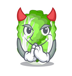 Devil cartoon fresh chinese cabbage vegetable in vector
