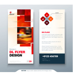 dl flyer design with square shapes corporate vector image