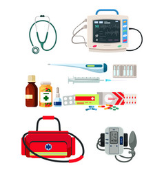 Doctors supplies for diagnosis and treatment set vector