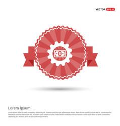 Dollar gear icon - red ribbon banner vector