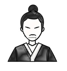 Drawing character japanese man clothes culture vector