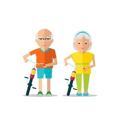 elderly couple walk with bicycles vector image