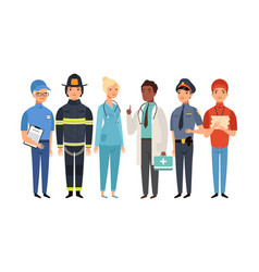 essential workers isolated frontliners group vector image