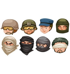 Faces of terrorists and soldiers vector