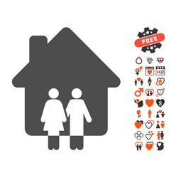 family house icon with dating bonus vector image