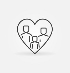 family in heart thin line concept icon vector image