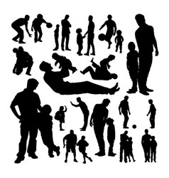 father and son silhouettes vector image