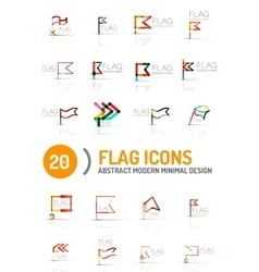 Flag icon logo set linear design vector