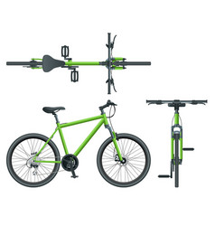 Flat cycling side view back and top view isolated vector