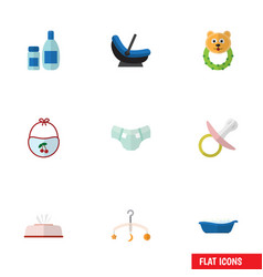 flat icon child set of cream with lotion pinafore vector image