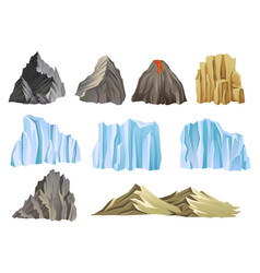 flat set with mountains volcano and vector image