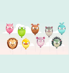 Funny colorful flying balloons with crazy animal vector
