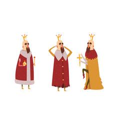 funny king character set old comic bald bearded vector image