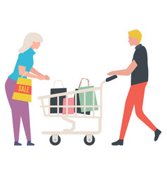 grandmother and son with shopping trolley vector image