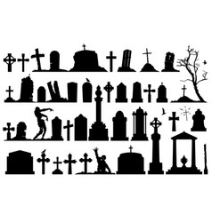 gravestones and tombstones set vector image