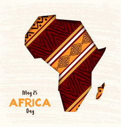 Happy africa day card african paper cut map vector