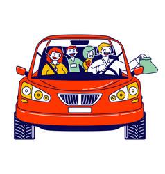 Happy family riding car using drive thru service vector
