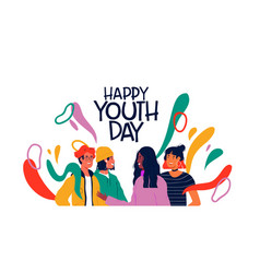 Happy youth day card diverse teen friend group vector