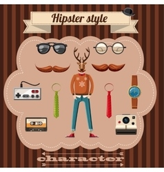 Hipster style attributes concept cartoon style vector