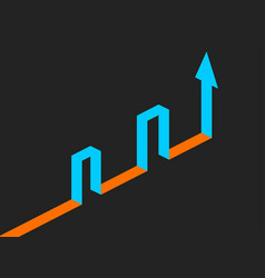 Isometric arrow up reaching the target through vector