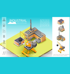 isometric industrial manufacturing concept vector image