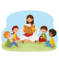 Jesus reading bible to kids vector