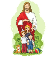 jesus with children christian cartoon vector image