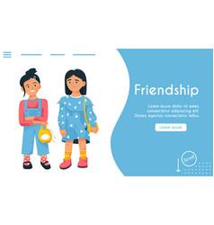 landing page friendship concept friends vector image