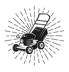 Lawn mower with rays in vintage style on white vector