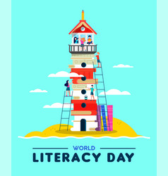 Literacy education concept kids building culture vector