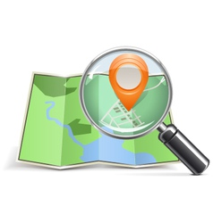 Loupe with Map Pointer vector image