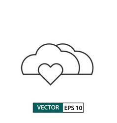 Love cloud icon outline style isolated on white vector