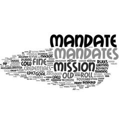 Mandates word cloud concept vector