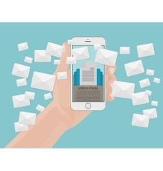 Many envelopes messages from smartphone screen in vector image