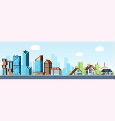megapolis vs village urban landscape downtown vector image