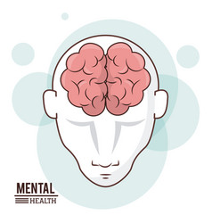 Mental health human head brain front intelligence vector