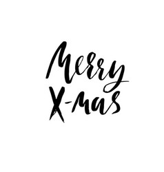merry x-mas holiday modern dry brush ink vector image