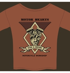 Motor Hearts Motorcycle Workshop vector image