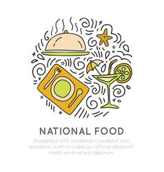 National food hand draw icon food vector