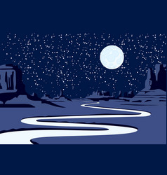 Night western landscape with desert and river vector