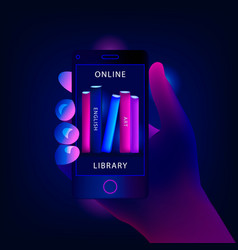 Online library with smartphone concept vector