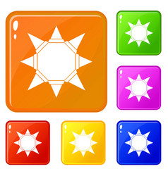 origami sun icons set color vector image