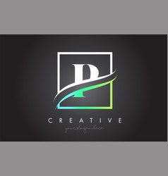 P letter logo design with square swoosh border vector